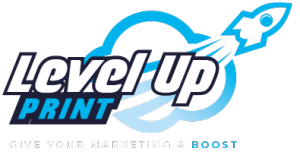 Level Up Print Logo, give your marketing a boost
